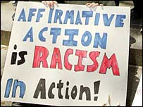 Anti-affirmative action placard