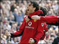 Ruud van Nistelrooy celebrates a goal against Fulham last season