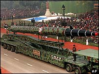 Agni II missile on parade in Delhi