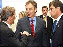 Austrian Chancellor Wolfgang Schuessel, UK Prime Minister Tony Blair and Dutch Prime Minister Jan Peter Balkenende