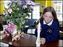 Pupil lighting a candle