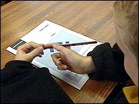 boy with test paper