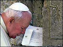 The Pope praying at the Western Wall in Jerusalem