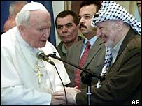 Pope John Paul II with Yasser Arafat in 2000