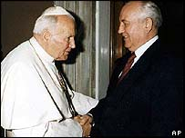 Pope John Paul II greets Mikhail Gorbachev