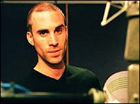 actor Joseph Fiennes in the recording studio