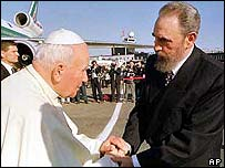 Pope John Paul II with Fidel Castro