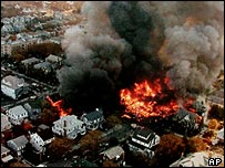 The Rockaway area of Queens shortly after the crash