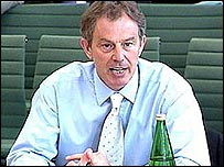 Photo of Prime Minister Tony Blair in a committee