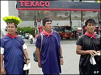 Indigenous groups protest against Texaco in Ecuador
