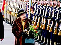 The Queen inspecting Russian troops