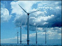 Wind farm turbines, BBC