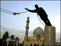 Statue of Saddam Hussein being pulled down, AP