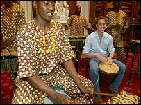 The prince rehearsing with an African band at Windsor Castle
