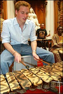 Prince William with band from Botswana