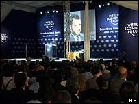 Jordan's King Abdullah addresses delegates in the WEF Royal tent