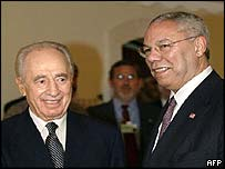 Israeli opposition leader Shimon Peres and US Secretary of State Colin Powell