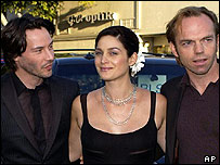 Keanu Reeves, Carrie-Anne Moss and Hugo Weaving
