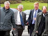 Campbell Christie (left) leads Falkirk's delegation to Hampden