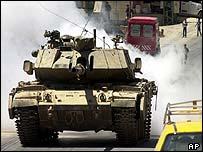 Israeli tank in Hebron on Sunday