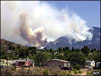 Mount Lemmon on fire