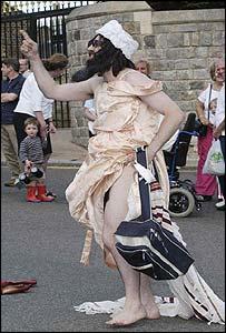 Aaron Barschak dressed as Osama Bin Laden