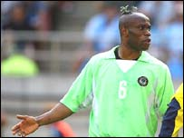 Taribo West at the 2002 World Cup finals with Nigeria