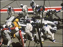 Juan Pablo Montoya in the pits during the Spanish Grand Prix