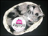 Cat toy made of dog fur