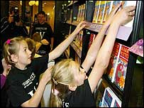 Children at Waterstone's in Southampton, grab a copy of Harry Potter and the Order of the Phoenix