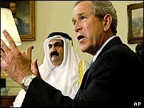 US President George Bush and the Emir of Qatar, Sheikh Hamad bin Khalifa Al Thani at the White House, 8 May 2003
