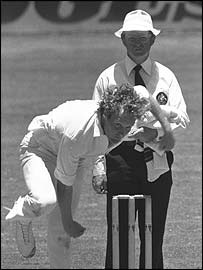 Rodney Hogg bowling for Australia in the late 1970s