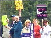 Unison members picket outside Royal Bolton Hospital