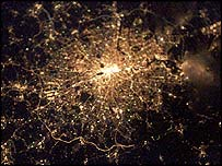 ISS image of London by night, Nasa