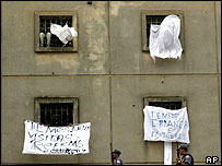 Riot at Carandiru Prison, Sao Paulo, in February 2001
