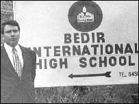 Al-Qaeda suspect Ibrahim Itabaci in front of his Bedir International School