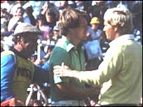 Jack Nicklaus (right) congratulates Tom Watson at Turnberry