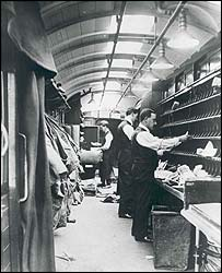 Old picture of men sorting mail