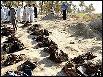 Iraqis walk through unknown graves near Babylon, Iraq