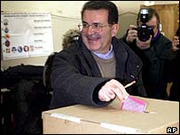 Romano Prodi votes in Italian elections
