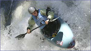 A kayaker gives it large at the Extreme Kayaking Finals in Washington
