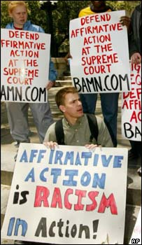 Pro- and anti-affirmative action demonstrators