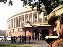 Armed police guard parliament in New Delhi following 13th December  suicide attacks
