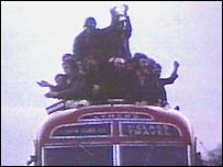 The bus taking the players on the tour of Stoke-on-Trent