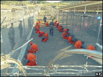 Inmates at Camp X-Ray, Guantanamo Bay, Cuba