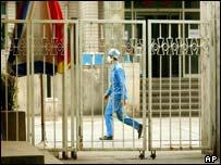 A doctor inside a Beijing hospital