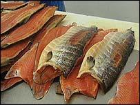 Salmon on table