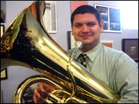 Gavin Saynor with tuba