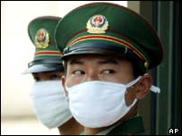 Chinese military police wearing masks to protect against Sars