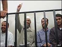 Four of the accused in court - Sheik Raed Salah is second from left